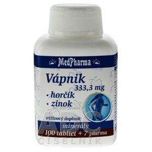 MedPharma VÁPNIK 333, 3 mg + Horčík + Zinok tbl 100+7 zadarmo (107 ks) vyobraziť