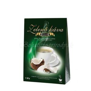 Zelená káva s kokosom vyobraziť