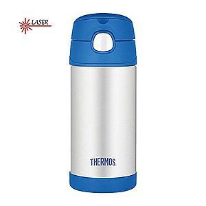 Thermos FUNtainer Detská termoska s slamkou - strieborná / modrá 355 ml vyobraziť