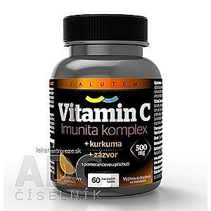 Vitamín C 500 mg Imunita komplex SALUTEM cmúľacie tablety s kurkumou a zázvorom, pomarančová príchuť 1x60 ks vyobraziť
