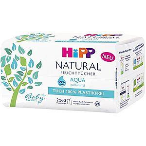 Hipp Babysanft Aqua Natural vlhčené čistiace obrúsky pre deti od narodenia 2x60 ks vyobraziť